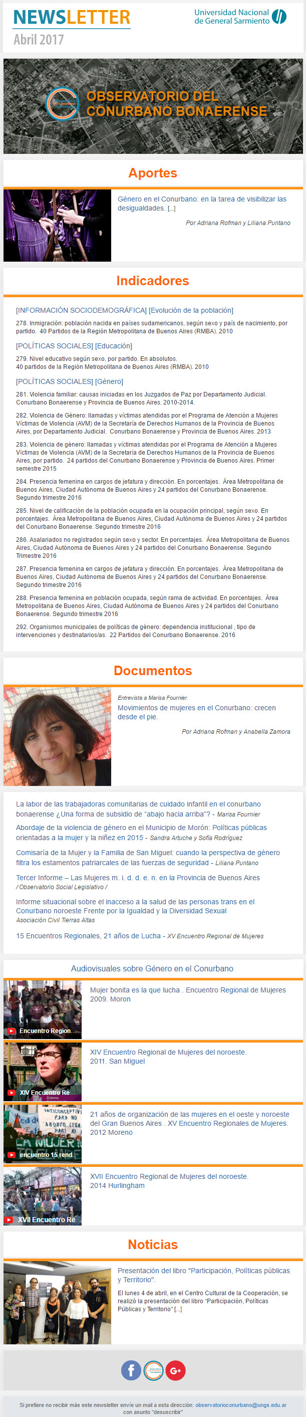 Newsletter abril 2017